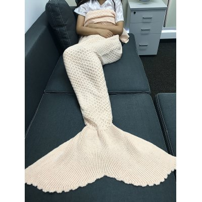 Comfortable Solid Color Knitting Rhombus Design Mermaid Tail Blanket