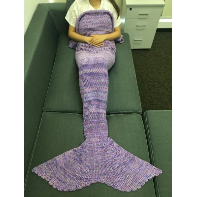 Multicolor Stripe Pattern Knitting Mermaid Tail Design Blanket