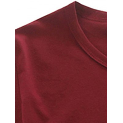 Brief Round Neck Long Sleeve Solid Color Tee