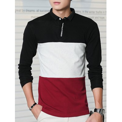 Long Sleeve Color Block Letter Printed Polo Shirt