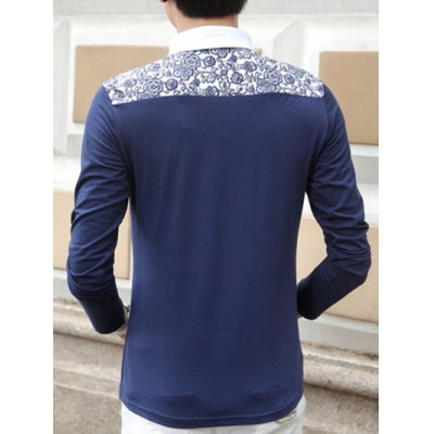 Turn-Down Collar Long Sleeve Floral Printed Polo T-Shirt For Men