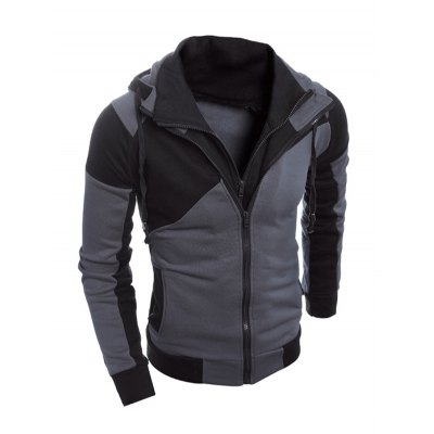 Color Spliced Long Sleeve Double Zipper Hoodie For Men