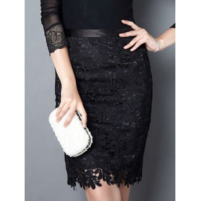 Solid Color Lace Bodycon Skirt