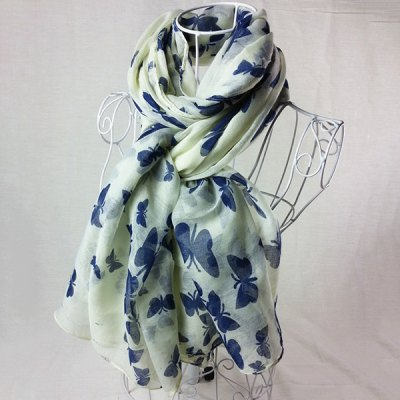 Stylish Plain Color Butterfly Painting Scarf