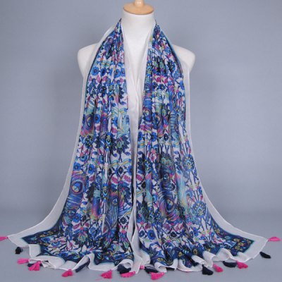 Ethnic Peacock Feather Tassel Scarf