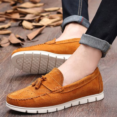 Simple Suede and Tassels Design Casual Shoes For Men