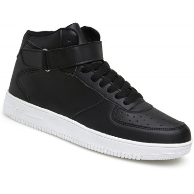 Stylish High Top and PU Leather Design Athletic Shoes For Men