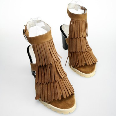 Trendy Chunky Heel and Layer Fringe Design Sandals For Women