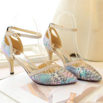 Trendy Embossing and Sequined Cloth Design Pumps For Women