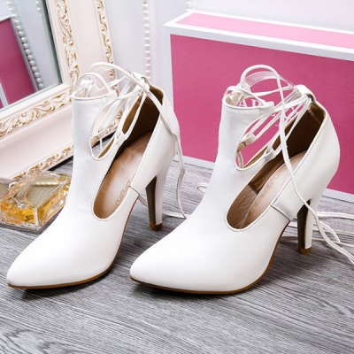 Stylish Cut Out and Lace-Up Design Pumps For Women