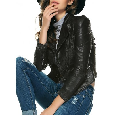 Chic Pure Color Zipped Jacket For Women