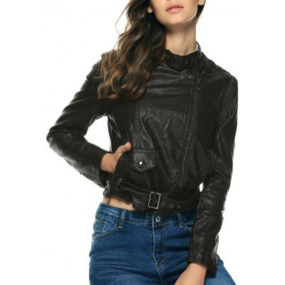 Pure Color Belted Jacket For Women