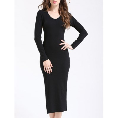 Elegant V Neck Long Sleeve Sheath Slit Knitted Dress