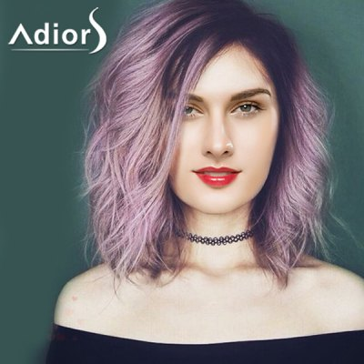 Attractive Purple Ombre Medium Synthetic Shaggy Natural Wave Capless Adiors Wig For Women