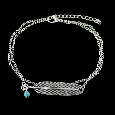 Alloy Feather Layered Anklet