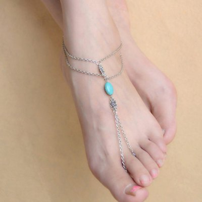 Layered Oval Faux Turquoise Anklet with Ring