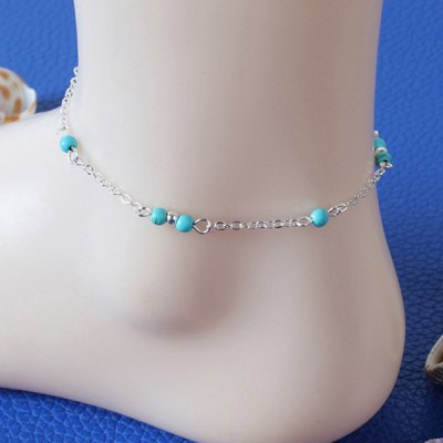 Faux Turquoise Beads Charm Anklet