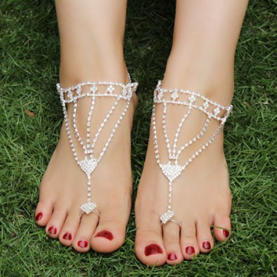Rhinestoned Triangle Anklets