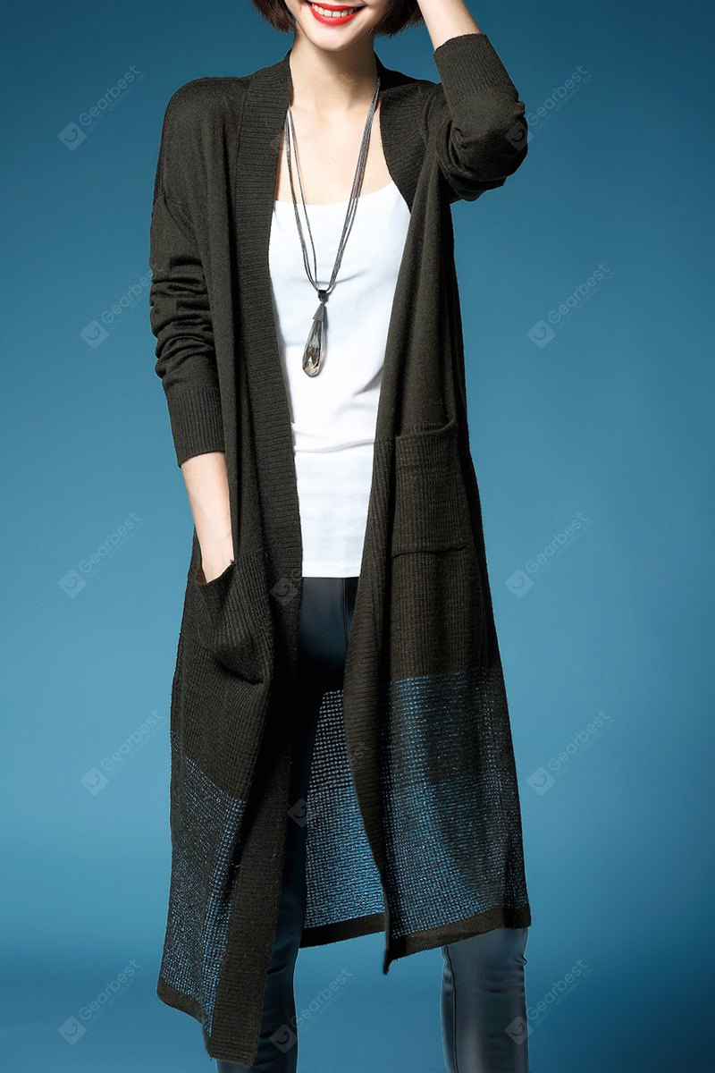 Collarless Knitted Long Cardigan L ARMY GREEN