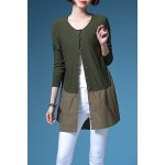 Buy Single Breasted Splicing Knitted Cardigan ARMY GREEN