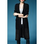 Buy Collarless Knitted Long Cardigan L BLACK