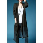 Buy Collarless Knitted Long Cardigan XL ARMY GREEN