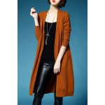 Long Sleeve Collarless Knitted Cardigan deal