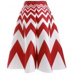 cheap Fashion High Waisted Zig Zag A Line Skirt For Women