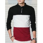Turn-Down Collar Long Sleeve Color Block Letter Printed T-Shirt