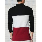 Long Sleeve Color Block Letter Printed Polo Shirt deal