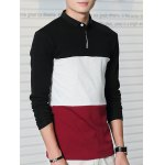 cheap Turn-Down Collar Long Sleeve Color Block Letter Printed T-Shirt
