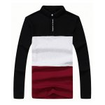 Turn-Down Collar Long Sleeve Color Block Letter Printed T-Shirt for sale