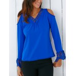 Trendy V Neck Lace Spliced Hollow Out Crochet Blouse deal