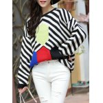cheap Trendy Dolman SLeeve Stripe Hit Color Chunky Sweater
