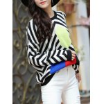 Trendy Dolman SLeeve Stripe Hit Color Chunky Sweater deal