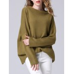 Elegant Dolman SLeeve Pure Color Loose-Fitted Chunky Sweater deal
