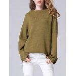 cheap Elegant Dolman SLeeve Pure Color Loose-Fitted Chunky Sweater