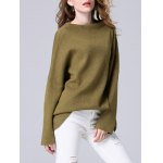 Elegant Dolman SLeeve Pure Color Loose-Fitted Chunky Sweater for sale