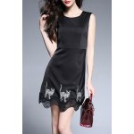 Cat Embroidered Sleeveless Mini Dress
