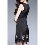 cheap Cat Embroidered Sleeveless Mini Dress