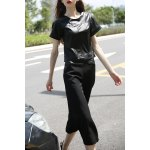 Balck PU Spliced T-Shirt and Wide Leg Pants deal