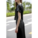 Balck PU Spliced T-Shirt and Wide Leg Pants for sale