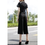 cheap Balck PU Spliced T-Shirt and Wide Leg Pants