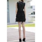 cheap Black PU and Feather Spliced Tank Dress