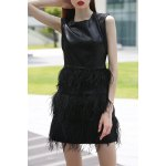 Black PU and Feather Spliced Tank Dress
