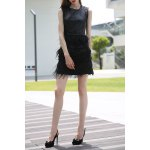 Black PU and Feather Spliced Tank Dress for sale