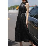 Black 3D Round Flower Maxi Dress deal