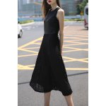 Black 3D Round Flower Maxi Dress for sale