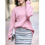 cheap Elegant Long SLeeve Pure Color Loose-Fitted Sweater