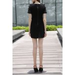 cheap Black PU Spliced Knee Length Dress